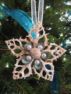Sliced Shell Star Ornament, Beach Decor Christmas Ornament, Nautical Ornament, Sliced Seashell Star Ornament