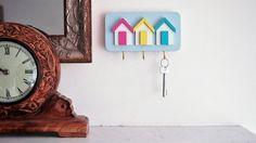 Sunshine. Shabby Chic Beach Hut Key Rack, in 3 Colours with 3 Hooks for Keys. Handmade in Our 'Sunshine' Colour Scheme