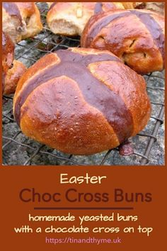Homemade super delicious choc cross buns are made with yeast using a pre-ferment method and they have a chocolate cross painted on the top. #TinandThyme #HotCrossBuns #YeastBaking #PreFerment #EasterRecipes #EasterBaking Spring Recipes, Easter Recipes, Easter Hot Cross Buns, Full Course Meal, Bakery Recipes, Best Appetizers, Vegan Baking, What To Cook, Savoury Dishes