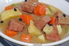 Newfoundland Recipes-Bologna Stew w/Black Peppercorn Rock Recipes, Meat Recipes, Cooking Recipes, Canadian Food, Canadian Recipes, Bologna Recipes, My Favorite Food, Favorite Recipes, Newfoundland Recipes