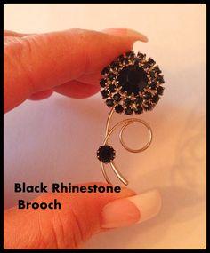 Black Rhinestone Brooch Flower Silver Tone Semi by bettysworld4u
