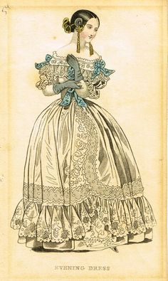 "Lady's Cabinet Fashion Print - c1840 - """"BLUE EVENING DRESS"""" - Hand-Colored Copper Engraving"