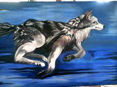 Running Wolf. Painting.