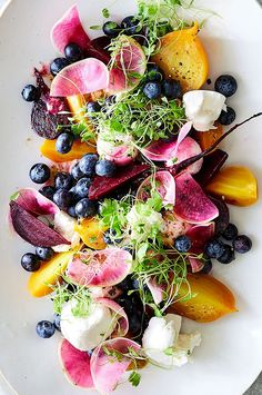 Chef Scott Graden of New Scenic Café outside Duluth, Minnesota, pickles beets to use in the winter, but in summer he cooks them up fresh in preparations like this blueberry salad. New Recipes, Salad Recipes, Vegetarian Recipes, Cooking Recipes, Favorite Recipes, Healthy Recipes, Vegetarian Kids, Freezer Recipes, Freezer Cooking