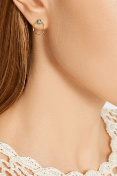 IAM by Ileana Makri | Gold-tone turquoise hoop earrings | NET-A-PORTER.COM