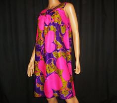 Vintage 1960s Hot PInk Purple Lime Green Bold FLORAL Print Hawaiian MINI Dress made in Hawaii bust 37