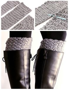 FREE PATTERN. Get the cute chunky sock look, without having the bulk in your boots. Crochet these easy reversible boot cuffs. Crochet Leg Warmers, Crochet Boot Cuffs, Crochet Gloves, Crochet Slippers, Easy Crochet, Love Crochet, Crochet Crafts, Crochet Projects, Knit Crochet