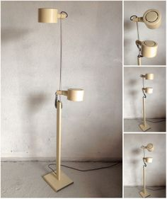 A very interesting MCM floor lamp. The height is adjustable, and the shade pivot and rotate 360.  Dimensions: 90cm (low) - 145cm (high)  Pau...