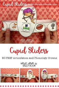Cupid Articulation and Phonology Slider Crowns: NO PREP Speech Therapy Activity Articulation Activities, Speech Therapy Activities, Language Activities, Preschool Activities, Articulation Therapy, V Speech, Speech Room, Preschool Speech Therapy, Education Information