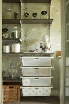I've been eyeing inspiration for our pantry makeover lately, and when I saw this image of Caitlin Wilson's gorgeous pantry, I knew I needed a shelving system that had pull-out drawers. Interior Design Living Room, Living Room Designs, Ikea Algot, Pantry Inspiration, Painted Cupboards, Floral Room, Pantry Makeover, Pantry Organization, Pantry Ideas