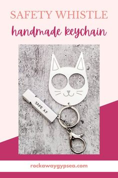 This safety keychain set for girls is so cute and perfect for cat lovers! If you are looking for a discreet but durable self defense tool that you can clip onto your keys, purse, or backpack, this safety whistle and cat knuckle weapon is the perfect set to help you feel safe and prepared. Head to Rockaway Gypsea to purchase the self defense cat keychain and feel better about being out and about by yourself! Cute Jewelry, Jewelry Gifts, Handmade Jewelry, Sister Gifts, Gifts For Mom, Cat Keychain, Self Defense Tools, Handmade Gifts For Her, Cute Mugs