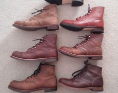 """Red Wing Iron Ranger in Amber Harness (8111), IR in Copper Rough and Tough (8115), IR in Hawthorne Muleskinner (oiled with neatsfoot oil) (8113), J. Crew Iron Ranger in Brick Settler + (bottom) J. Crew Beckman (""""Gaucho"""" color, model 4568), Wolverine 1000 Mile in brown."""