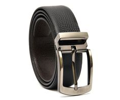 Highest Quality Genuine Cowhide BLACK-BROWN Lizard Print Reversible Leather Belt. Stylish Frame and Pin Style Metal Buckle.  Width: 34 mm The embossed belt strip and the shiny yet smart buckle are well coordinated to give your business look a very classy appeal. The leather used in making HideMark Belts is high grade quality and the buckles are made up of fine quality metal which adds to the charm of the belt. HideMark Belts come in a variety of designs, reversible or non-reversible, in a…
