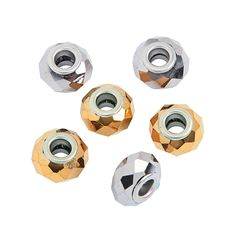 Gold & Silver Faceted Large Hole Beads - TerrysVillage.com
