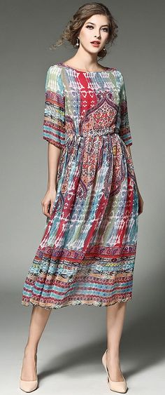 Multicolor Print Chiffon Midi Dress