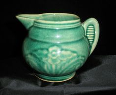 Solid Ear - Shaped Handle Green Creamer Vintage USA Unknown Pottery