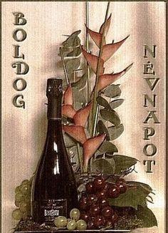 BOLDOG NÉVNAPOT KÍVÁNOK! Happy Name Day, Wine Rack, Happy Birthday, Names, Bottle, Happy Brithday, Urari La Multi Ani, Flask, Happy Birthday Funny