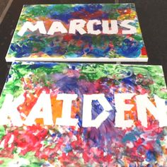 The boys finger painted their own canvas name wall hangings. Just used tape for their names before they started!