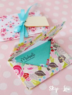 Learn how to make a DIY origami gift card holder. A pretty way to give a gift card. These make perfect teacher gifts! You teacher will thank you! MichaelsMakers Skip To My Lou
