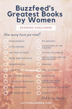 Greatest books by women reading challenge Books You Should Read, I Love Books, New Books, Good Books To Read, Book Challenge, Reading Challenge, Reading Lists, Book Lists, Book Suggestions