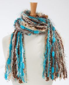 Sophisticated Knotted Fringe Scarves Womens Scarf by FlorasFinest Yarn Necklace, Fabric Necklace, Scarf Jewelry, Fabric Jewelry, Scarf Knots, Diy Scarf, Crochet Ruffle Scarf, Crochet Scarves, Crochet Necklace Pattern