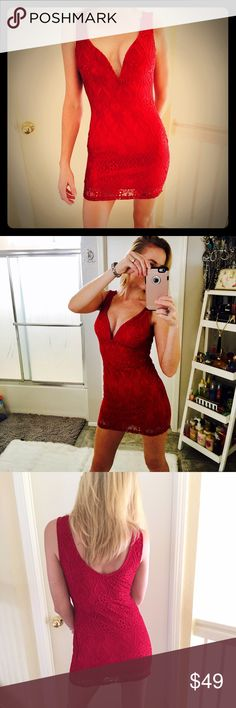 """SEXY LITTLE RED DRESS! SUPER SEXY, LOW CUT, WITH WIRED LINING ONLY ON FRONT OF BUST PART TO CREATE MORE CLEAVAGE! NWOT! SHORT for a tall person. I'm modeling, I'm 5'8"""" WINDSOR Dresses Mini"""