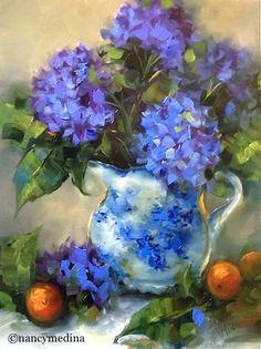 Winter Blues Hydrangeas - Flower Paintings by Nancy Medina