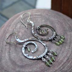 Boudica  sterling silver spiral tribal earrings by honeyandollie, $69.00