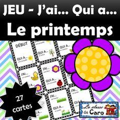 Ce document contient: 27 cartes imprimables en couleur (mais jolies en noir et blanc aussi!) 9 cartes par page SUIVEZ-MOI! Autres documents qui vous intéresseraient possiblement: 12, Mots de la semaine -PRINTEMPS - AVRIL - MAI - JUIN 3 dessins à finir - Printemps - Maternelle à 2e année)12 Casse-têtes - LE PRINTEMPS  Trouve le verbe - Cartes à tâche - LE PRINTEMPS  )... French Teacher, Teaching French, Teacher Helper, Core French, French Classroom, French Resources, French Immersion, French Lessons, Learn French