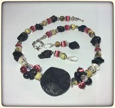 Edelstein Halskette Ohrringe Lava Katzenauge Necklace Jewelry Set