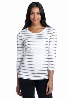New Directions Weekend  Cara Stripe Ribbed Tee