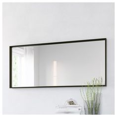 Ikea Stave Mirror in black brown. Ikea Nissedal, Long Mirror, Large Black Mirror, Ikea Mirror, Dining Room Mirror Wall, Large Bathroom Mirrors, Bedroom Mirrors, Mantle Mirror, Luxury Bathrooms