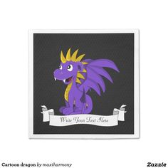 Cartoon dragon standard cocktail napkin