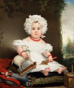 Jan Adam Kruseman (1804-1862), Portrait of Catharina Elisabeth Rente Linsen (1831) from the Teylers Museum, Haarlem ,with a doll