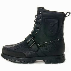 Men's black polo boots