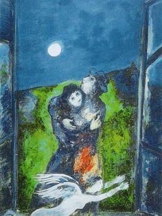 Lovers in the Moonlight by Marc Chagall - art print from Easyart.com