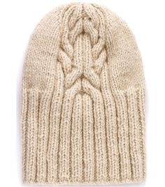 British made natural beige cable knit stripe centre ribbed beanie hat. Material: 100% cashmere. #matchesfashion