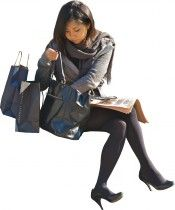 asian business woman going through handbag