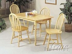 "5-pc Farmhouse Design Dining Table Set in Natural Finish ACS 70008 by click 2 go. $499.00. 5-pc 2011 Farmhouse Design Dining Table Set. natural finish. i table with 4 chairs. chair size:36""H. table size:30""W x48""L. some assembly maybe required."