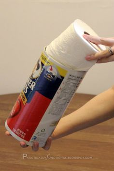 Turn empty oatmeal container into extra toilet paper holder! So doing this...