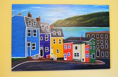 John's ,Newfoundland, Canada - - acrylic on canvas, by Amanda Clarke House Painting, Painting On Wood, Wood Paintings, Sip N Paint, Newfoundland Canada, Canvas Home, House Of Cards, Painting Lessons, Jelly Beans