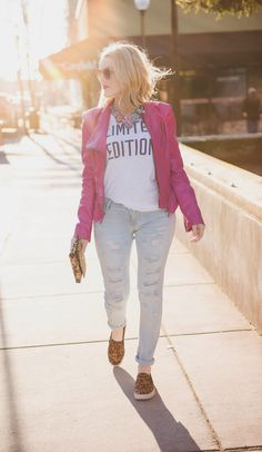 Dress down bright pieces with destroyed denim and leopard sneaks!