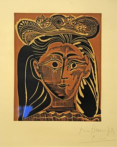Picasso at The Metropolitan Museum of Art. Jacqueline in a Flowery Straw Hat, 1962, Linoleum cut