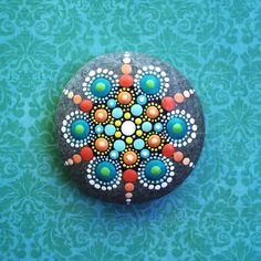 Jewel Drop Mandala Painted Stone Fizz and Pop by ElspethMcLean