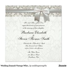 Wedding Damask Vintage White Wedding Old Lace 5.25x5.25 Square Paper Invitation Card