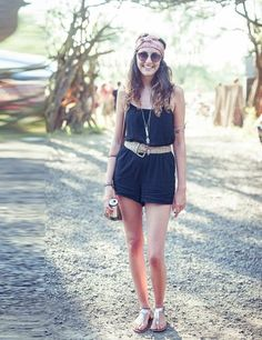 Secret Garden Party Street Style 2013    Daisy McLeod wears Topshop playsuit, Next sandals, Mink Pink sunglasses, Topshop necklace, Great grandmother's headscarf and bag with vintage belt.