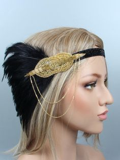 Party Feather Flapper Headband – Retro Stage - Chic Vintage Dresses and Accessories Flapper Headpiece, Flapper Headband, 20s Flapper, Elegant Prom Dresses, Stunning Dresses, Formal Dresses, Fashion Images, Diy Fashion, Fashion Skirts