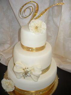 Golden Swarovski Monogram Cake topper - Arany színű kristályokkal kirakott torta monogram