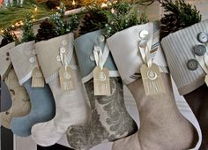 christmas stockings in coastal colors sand sea driftwood seaglass by south house - Elegant Christmas Stockings