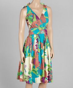 Loving this Turquoise Floral Shoulder-Tie Dress on #zulily! #zulilyfinds